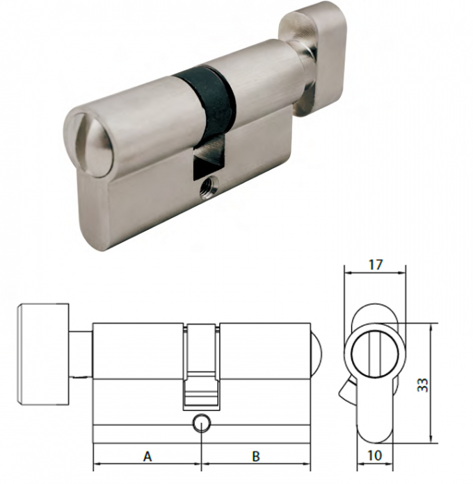 WC Bathroom Mortice Lock Cylinder Satin Nickel EN1303 Brass Material