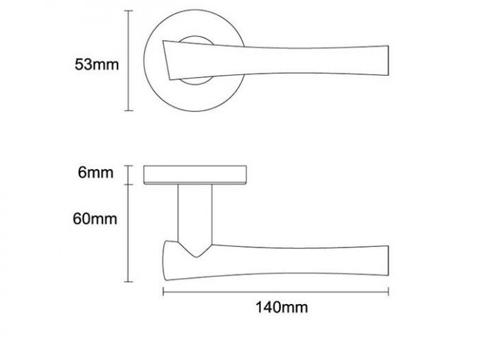 Satin brushed stainless steel door handle with round backplate-size