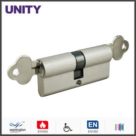 China Emergency Function Door Lock Cylinder Stain Chrome Double Key Brass Material supplier