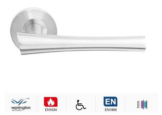 China Satin brushed stainless steel door handle with round backplate supplier