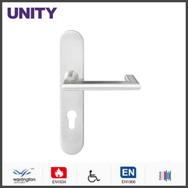 China Satin PVD Titanium flat stainless steel door handles on backplate distributor