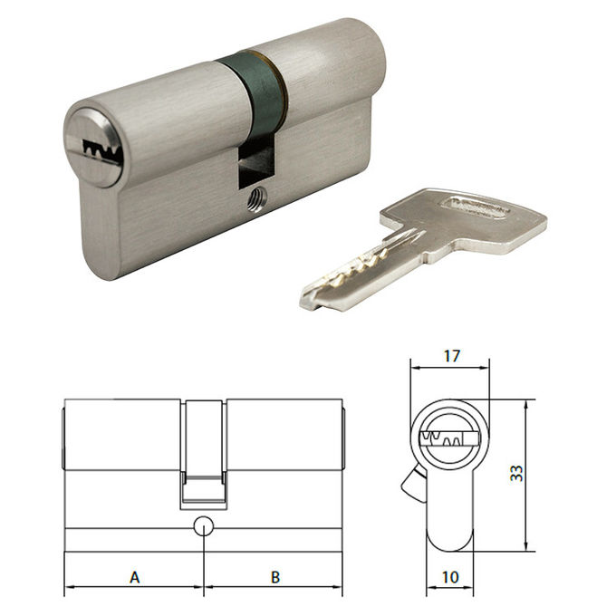 Dimple Key Security Euro Cylinder Lock Matt Chrome EN1634 Fire Protection